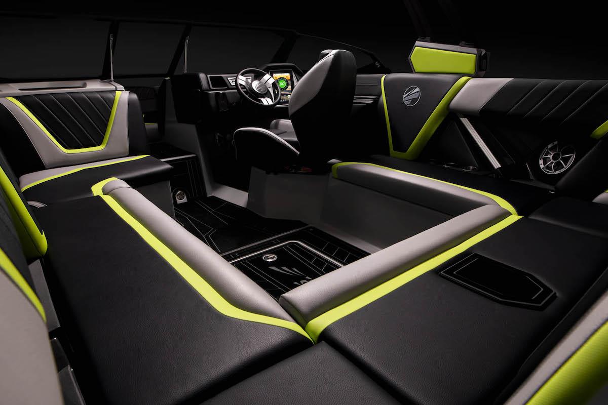 The tige Boat 23RZX interior has a Sport stitch interior design and custom colors.