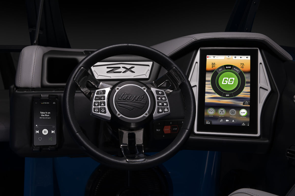"Tige 23ZX is equipped with the 11""Tige Clear tablet which controls the majority of the boat's features"