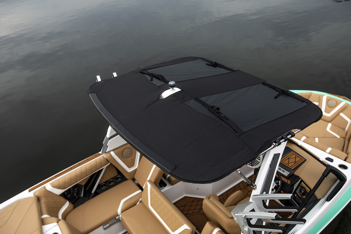 Tige Boat ZX21 is equipped with an optional Bimini.