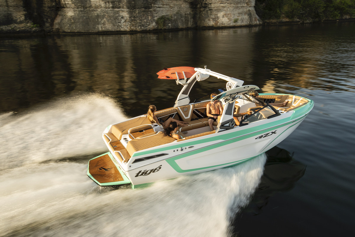The Tige Boat 21ZX has the largest bow and cockpit space in the segment.