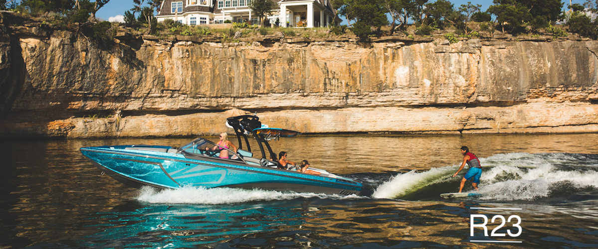 Tige Boat R23 pulling a wakeboard