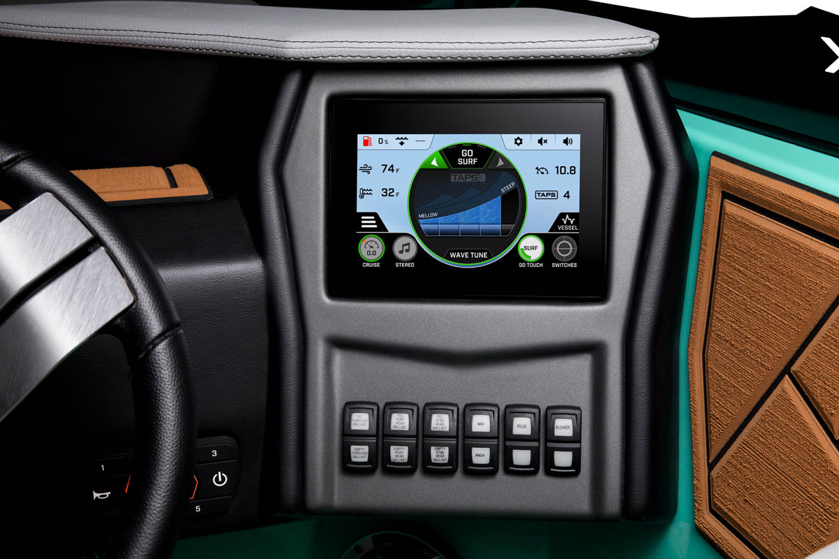 """Tige ATX24 TYPE-S is equipped with the 7"""" Tige ATXPERIENCE CONTROL CENTER tablet which controls the majority of the boat's features"""
