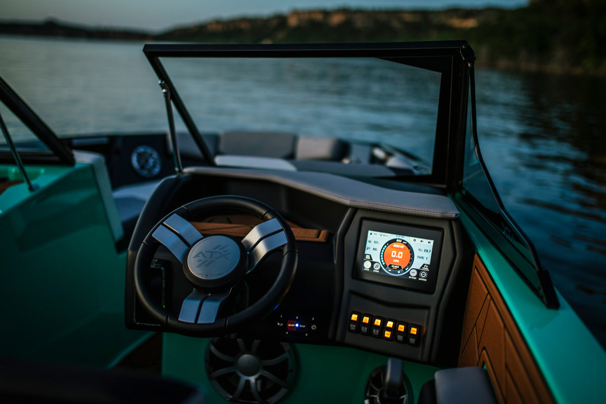 """Tige ATX24 type-s is equipped with a 7"""" tablet which controls the majority of the boat's features"""